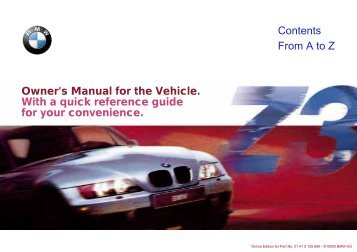 Owner's Manual for the Vehicle. With a quick reference guide for ...