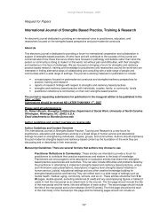 International Journal of Strengths Based Practice, Training & Research