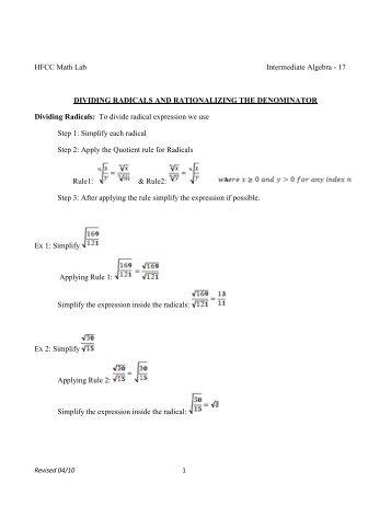 Rationalizing the Denominator: Dividing Radicals Worksheet with ...