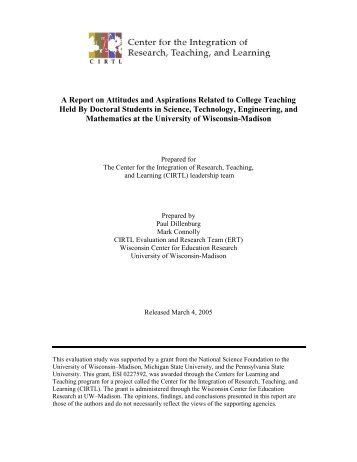 CIRTL doctoral student survey report
