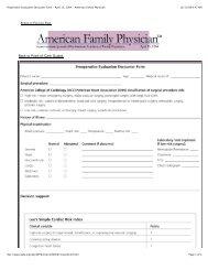 Preoperative Evaluation Encounter Form - April 15, 2004 - American ...