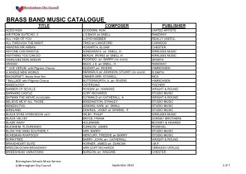 Brass Band Music Catalogue 2010 (Adobe Acrobat File)