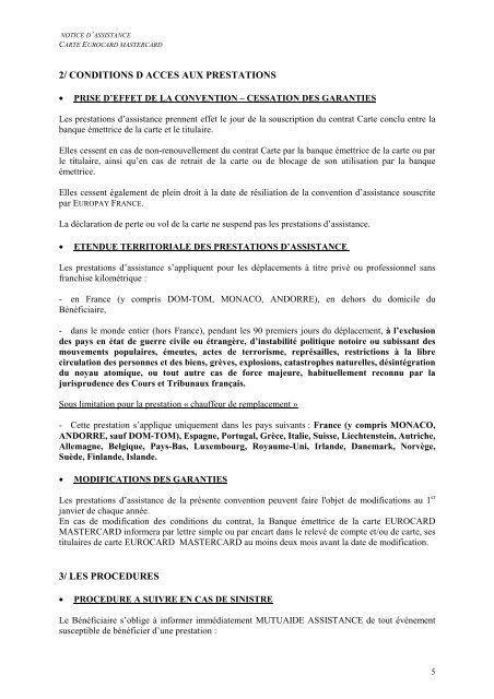NOTICE D'INFORMATION ASSISTANCE