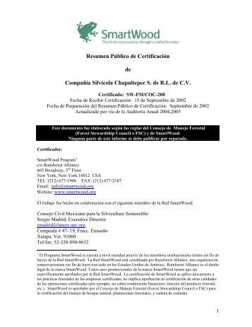 Resumen Público de Certificación de Compañía Silvícola ...