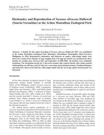 Husbandry and Reproduction of Varanus olivaceus Hallowell ...