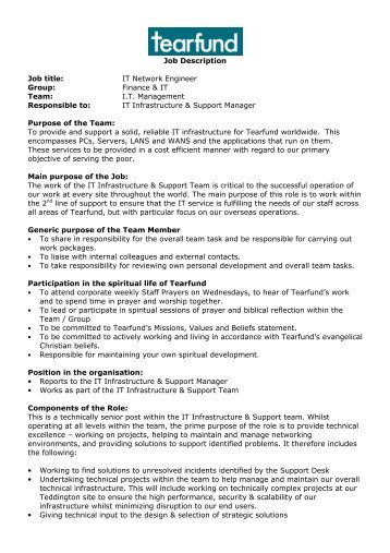 Job Description Job Title: IT Network Engineer Group ...   CharityJOB