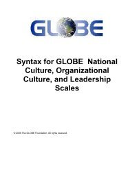Syntax for GLOBE National Culture, Organizational Culture, and ...