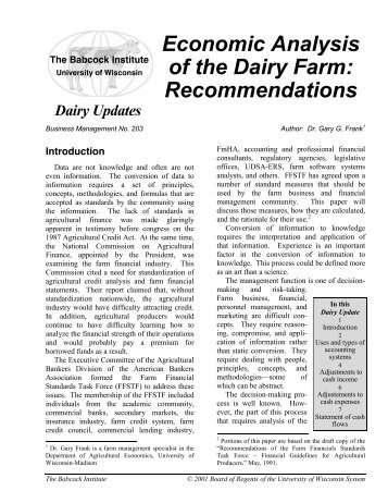 Economic Analysis of the Dairy Farm - Babcock Institute - University ...