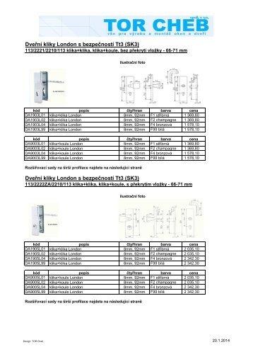 Dveřní kliky široký štítek Tt3