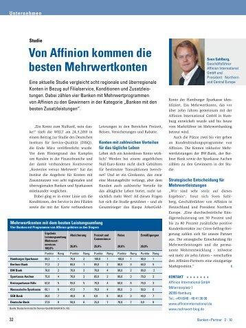 Von affinion kommen die besten Mehrwertkonten - Banken+Partner
