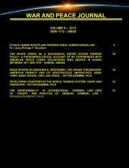 war and peace journal - volume 9, 2013 - Free World Publishing Inc.