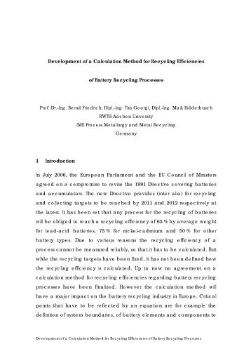 Development of a Calculation Method for Recycling Efficiencies of ...