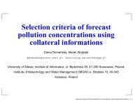 Selection criteria of forecast pollution concentrations using collateral ...