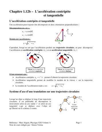 Chapitre 1.12b – L'accélération centripète et tangentielle