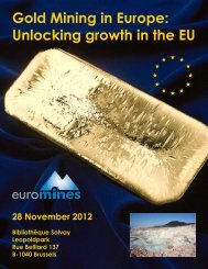 Gold Mining in Europe: Unlocking growth in the EU - Euromines