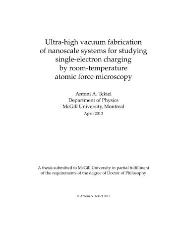 Atomically defined tips in scanning probe microscopy - McGill Physics