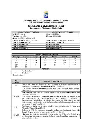 Calendário Universitário 2012 - UERN
