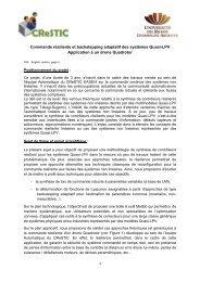 Commande résiliente et backstepping adaptatif des systèmes Quasi ...