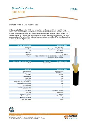 Fibre Optic Cables CTC ADSS 77644 - Mondo Plast