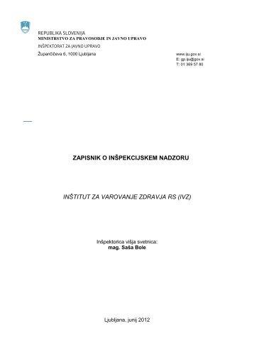 zapisnik o inšpekcijskem nadzoru inštitut za varovanje zdravja rs (ivz)