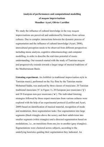 Analysis of performances and computational modelling of maqam ...