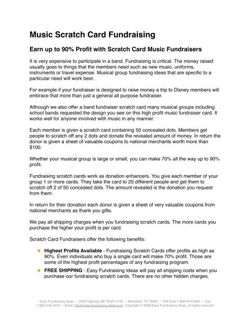Music Scratch Card Fundraising - Easy Fundraising Ideas
