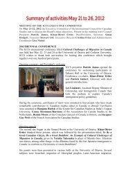 Résumé des activités des 21-26 mai 2012 - Conseil international d ...