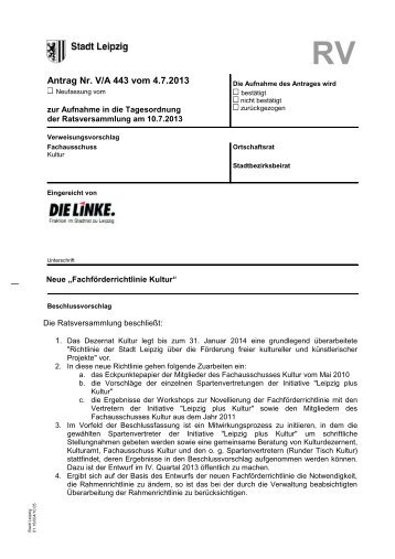 Antrag Nr. V/A 443 vom 4.7.2013