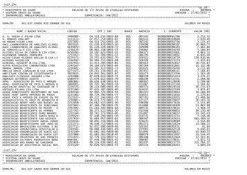 Relação de Créditos por CNPJ - Secretaria Estadual da Saúde do ...