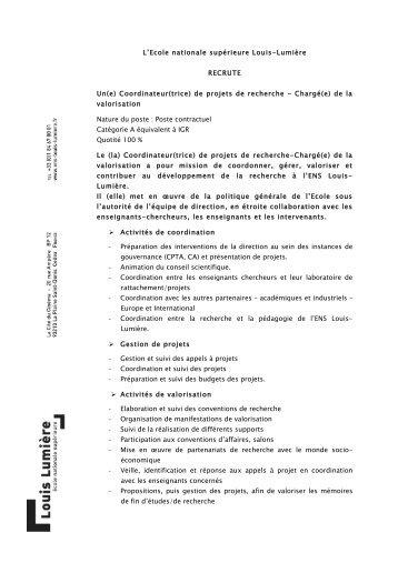 Voir le profil de poste - Ecole nationale supérieure Louis-Lumière