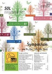 Symposium - SOL - Menschen für Solidarität, Ökologie und Lebensstil