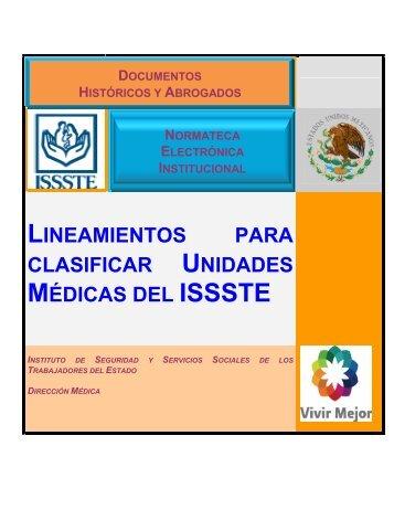 lineamientos para clasificar unidades médicas del issste