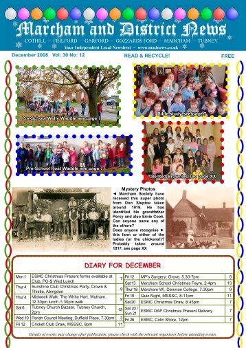 diary for december - Marcham and District News