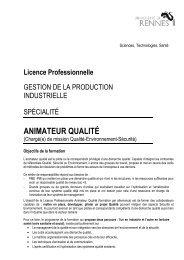 animateur qualité - Université de Rennes 1