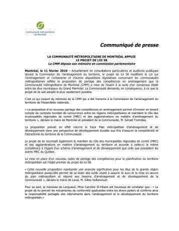 Communiqué – La CMM appuie le projet de loi 58 - Communauté ...