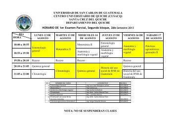 HORARIO 1er parcial AGRONOMÍA 2do semestre - Usac