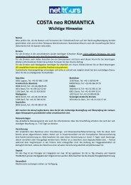 COSTA neo ROMANTICA Wichtige Hinweise - Net-Tours GmbH