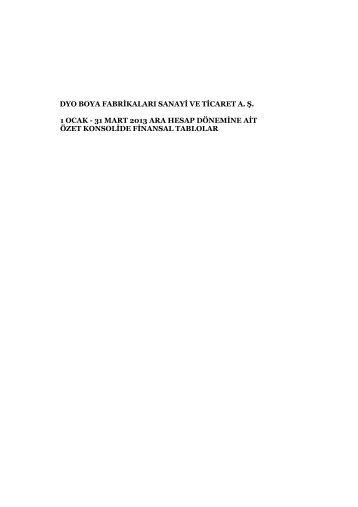 2013 - 3 Aylık Mali Tablolar - Dyo