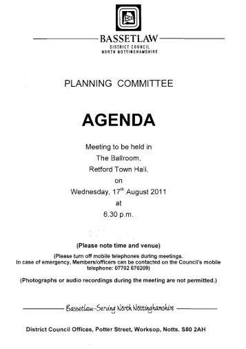 AGENDA - Bassetlaw District Council