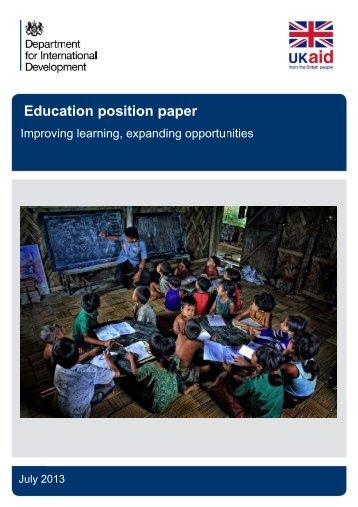 E Educa ation posit tion p paper r - Tanzania Education Network ...