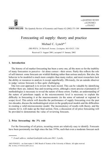 Forecasting oil supply: theory and practice - Australian Association ...