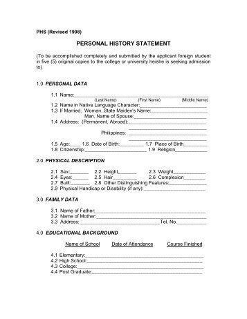 Download Personal History Statement (Phs) Ntp - Vii Form