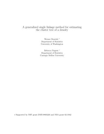 A generalized single linkage method for estimating the cluster tree of ...