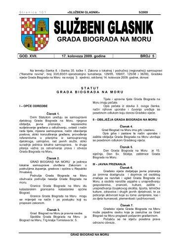 Službeni glasnik Grada Biograda na Moru - broj 05/09