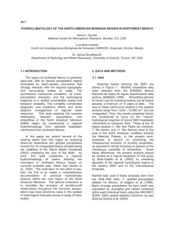 Hydroclimatology of the North American monsoon region in ...