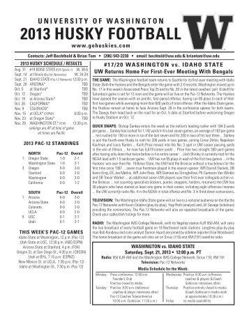 UW Game Notes (vs. Idaho State) - GoHuskies.com
