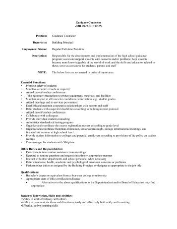 High School Counselors Job Description Image Gallery  Hcpr