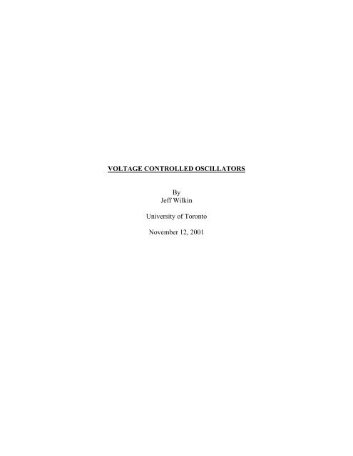 VOLTAGE CONTROLLED OSCILLATORS - University of Toronto