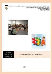 Programación curicular I Ciclo - La Educación Básica Regular - EBR