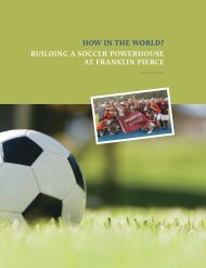 building a soccer powerhouse at franklin pierce how in the world?